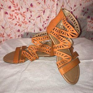 Red Circle Footwear Perla Cognac Gladiator Sandal